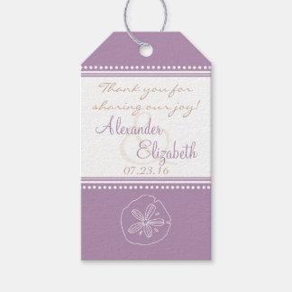 Lavender Sand Dollar Beach Wedding Guest Favor Gift Tags