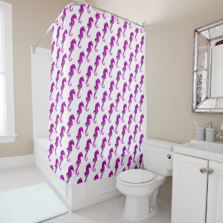 Lavender Sea Horses Shower Curtain