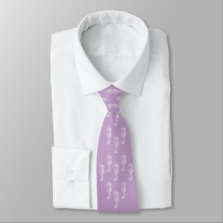 Lavender Seahorses Beach Wedding Necktie