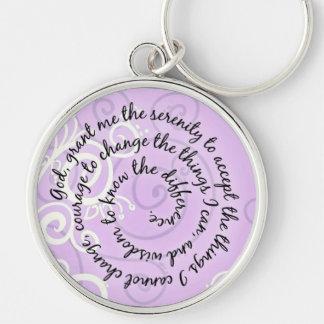 Lavender Serenity Prayer Keychain