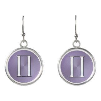 Lavender Silver Zodiac Sign Gemini Earrings