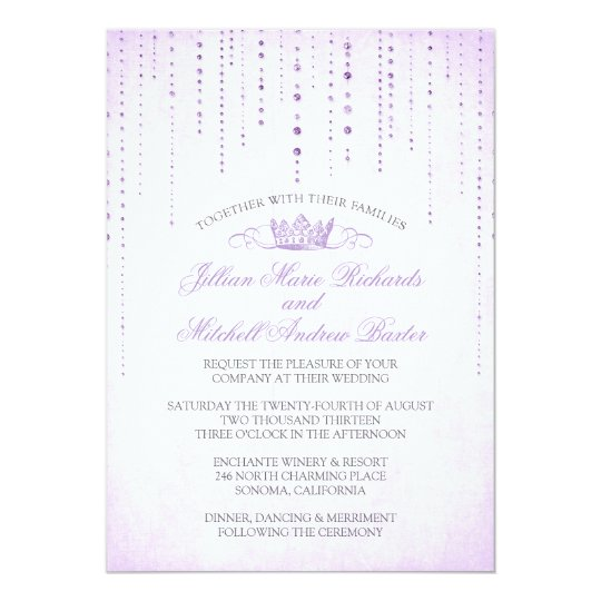 Lavender Sparkles & Crown Fairytale Wedding Card