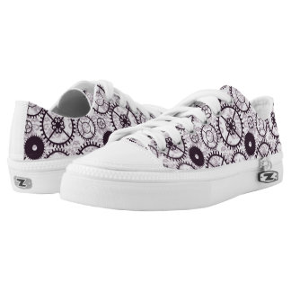 lavender Steampunk watch gear and damask pattern Low Tops