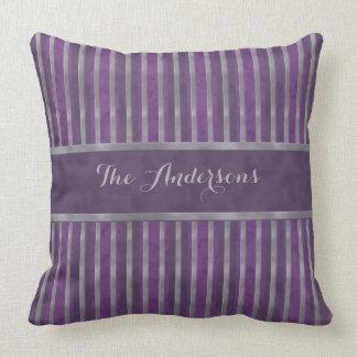 Lavender Steel Dark Plum Striped Throw Pillow