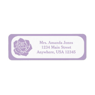 Lavender Stencil Rose | Personalized Return Address Label