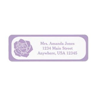 Lavender Stencil Rose   Personalized Return Address Label