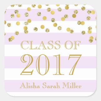 Lavender Stripe Gold Graduation Class of 2017 Square Sticker