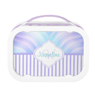 Lavender Stripe Teal Monogram Lunch Box