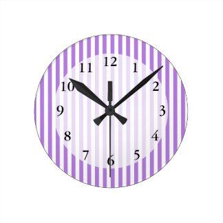 Lavender Striped Pattern Round Clock