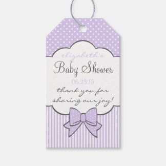 Lavender Stripes and Dots Baby Shower Thank You Gift Tags