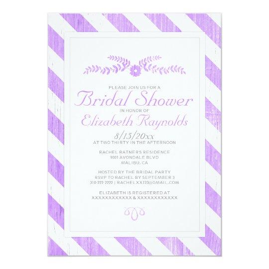 Lavender Stripes Bridal Shower Invitations