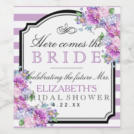 Lavender Stripes Watercolor Floral Bridal Shower Wine Label