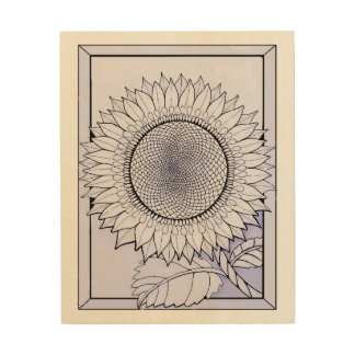 Lavender Sunflower Wood Print