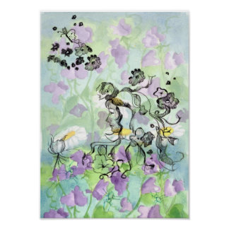 Lavender Sweet Pea Flowers Fairy Watercolor Poster