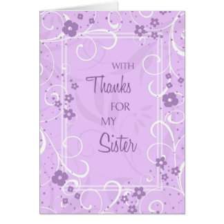 Lavender Swirls Sister Thank You Bridesmaid Card