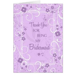 Lavender Swirls Thank You Bridesmaid Card