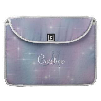 Lavender Teal Mauve Nebula Sparkle Monogram Sleeve For MacBooks
