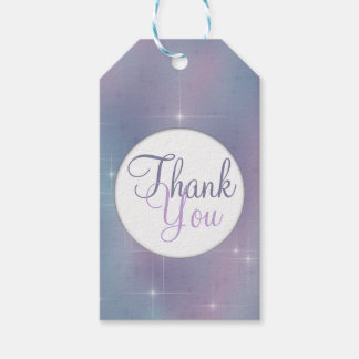 Lavender Teal Mauve Sparkle Thank You Gift Tags