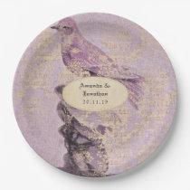 Lavender Themed Vintage Bird Wedding Paper Plate