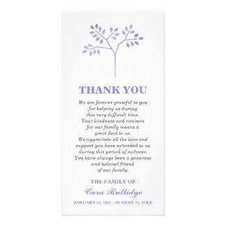 Lavender Tree Memorial Service Thank You Personalised Photo Card