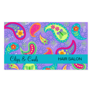Lavender Turquoise Blue Modern Paisley Pattern Pack Of Standard Business Cards