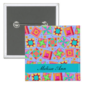 Lavender Turquoise Patchwork Quilt Name Badge