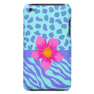 Lavender & Turquoise Zebra & Cheetah Pink Flower Barely There iPod Covers