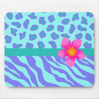 Lavender Turquoise Zebra Cheetah Pink Flower Mousepads