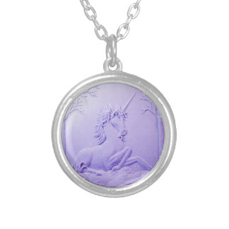 Lavender Unicorn in Forest Glade by Sharles Round Pendant Necklace