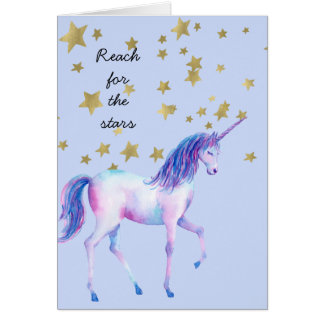 Lavender Unicorn reach for the stars Card