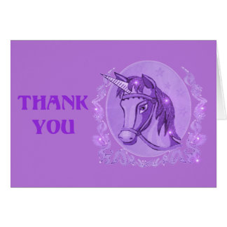 Lavender Unicorn thank you card template