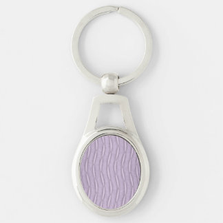 Lavender Vertical Modern Striped Design Silver-Colored Oval Key Ring
