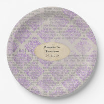 Lavender Vintage Newspaper Wedding Paper Plate