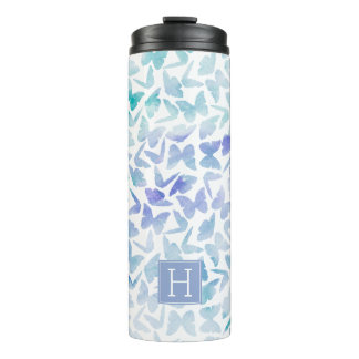 Lavender Watercolor Butterflies Monogrammed Thermal Tumbler