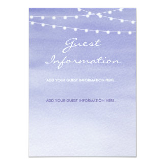 Lavender Watercolor Stringlights Guest Information Card