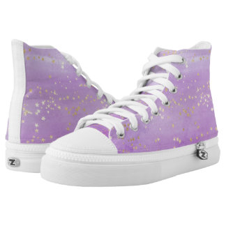 Lavender Watercolor with Gold Stars High Tops