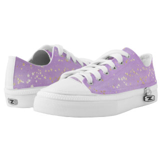 Lavender Watercolor with Gold Stars Low Tops