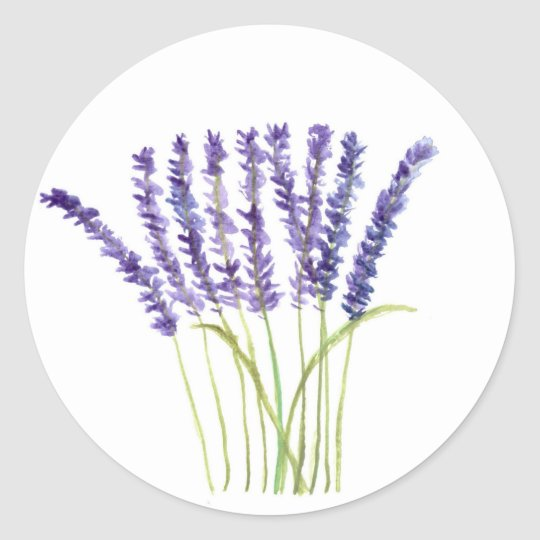 Lavender watercolour painting, purple flowers classic round