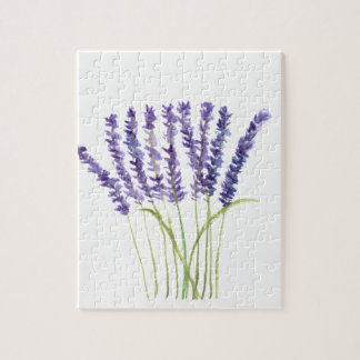 Lavender watercolour painting, purple flowers jigsaw puzzle