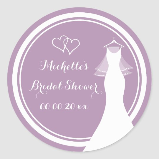 Lavender wedding dress bridal shower stickers