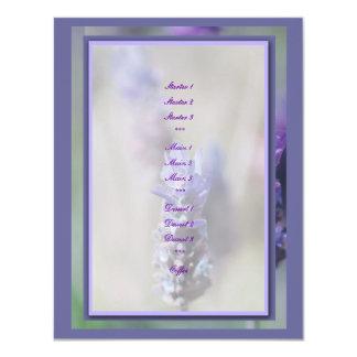 "Lavender wedding menus stylish template 4.25"" x 5.5"" invitation card"
