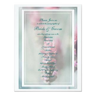 "Lavender wedding peach green 4.25"" x 5.5"" invitation card"