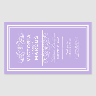 Lavender Wedding Wine Bottle Monogram Favor Labels Rectangular Sticker