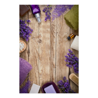 Lavender Wellness Products On Wooden Table Poster