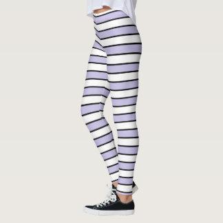 Lavender, White and Black Stripes Leggings