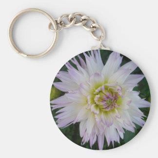 Lavender White Dahlia Keychain