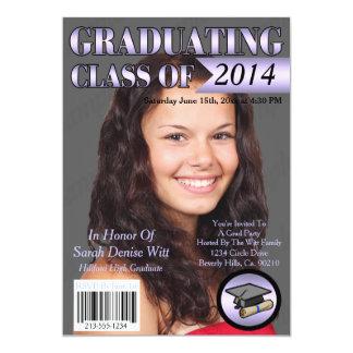 Lavender & White Graduating Class Magazine Cover 13 Cm X 18 Cm Invitation Card