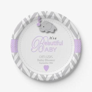 Lavender, White Gray Elephant Baby Shower Paper Plate