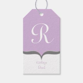 Lavender White Gray Monogram Name Gift Tags