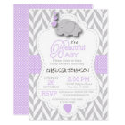 Lavender, White Grey Elephant Baby Shower Card